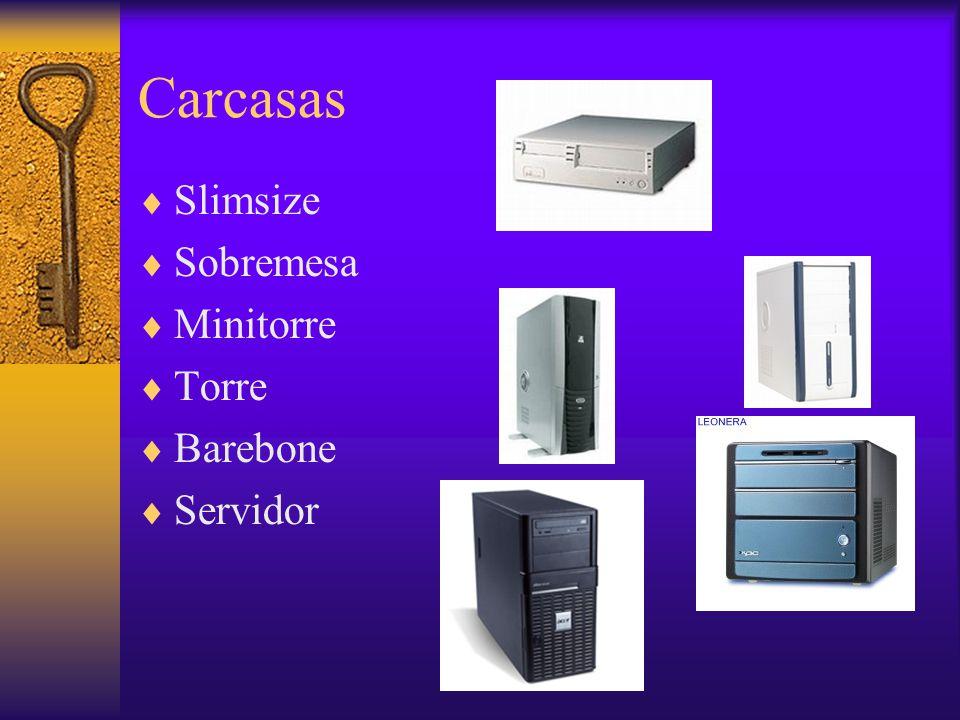 Placas base Fullsize, para torres, 35,6x30,5 cm Babysize, para sobremesa, 22,5x33 cm Halfsize, para slim, 21,8x24,4 cm