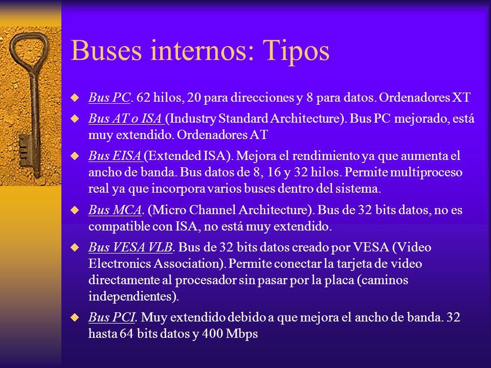 Buses internos: Tipos Bus PC. 62 hilos, 20 para direcciones y 8 para datos. Ordenadores XT Bus AT o ISA (Industry Standard Architecture). Bus PC mejor