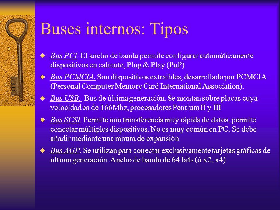 Buses internos: Tipos Bus PCI. El ancho de banda permite configurar automáticamente dispositivos en caliente, Plug & Play (PnP) Bus PCMCIA. Son dispos