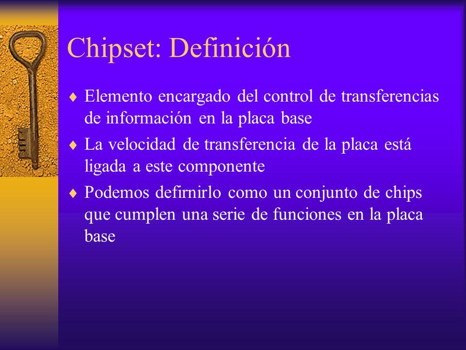 Chipset: Definición Elemento encargado del control de transferencias de información en la placa base La velocidad de transferencia de la placa está li