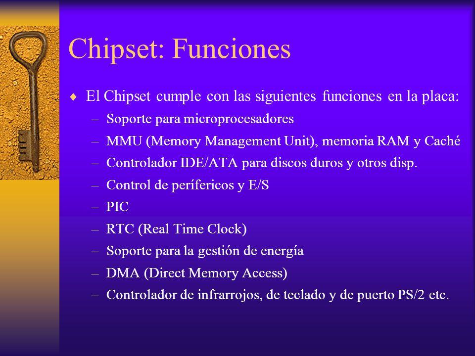 Chipset: Funciones El Chipset cumple con las siguientes funciones en la placa: –Soporte para microprocesadores –MMU (Memory Management Unit), memoria