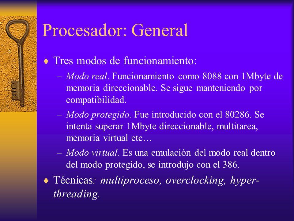 Procesador: General Tres modos de funcionamiento: –Modo real. Funcionamiento como 8088 con 1Mbyte de memoria direccionable. Se sigue manteniendo por c