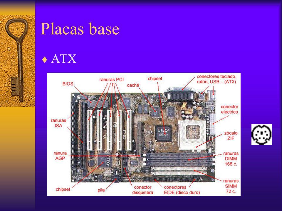 Componentes de la Placa base BIOS Pila Zócalo del microprocesador Buses internos (slots de expansión) Chipset Alimentación de la placa Procesador Ranuras de memoria