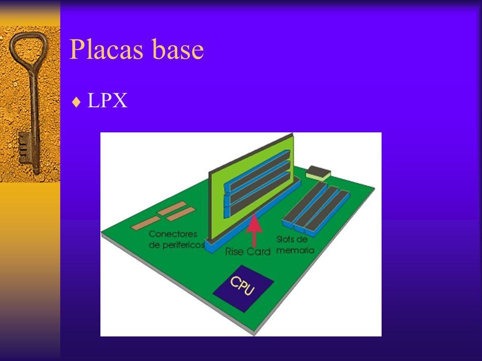Chipset: Funciones El Chipset cumple con las siguientes funciones en la placa: –Soporte para microprocesadores –MMU (Memory Management Unit), memoria RAM y Caché –Controlador IDE/ATA para discos duros y otros disp.