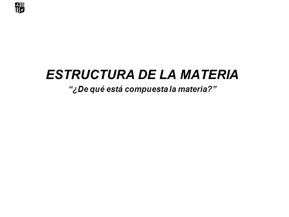 ESTRUCTURA DE LA MATERIA ¿De qué está compuesta la materia?