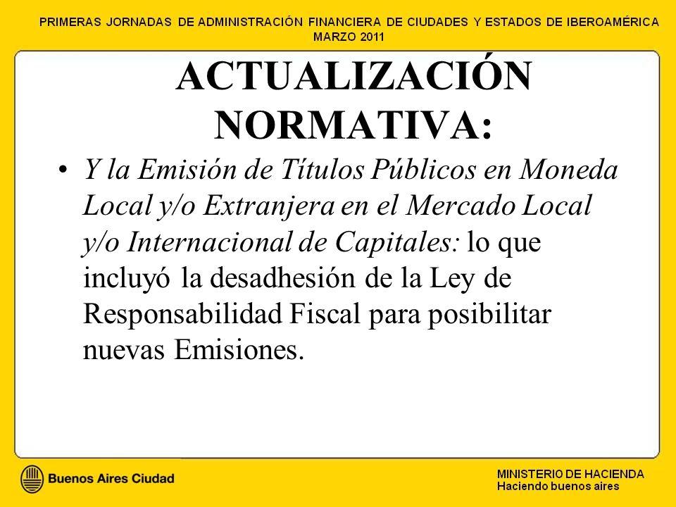 ACTUALIZACIÓN NORMATIVA: Y la Emisión de Títulos Públicos en Moneda Local y/o Extranjera en el Mercado Local y/o Internacional de Capitales: lo que incluyó la desadhesión de la Ley de Responsabilidad Fiscal para posibilitar nuevas Emisiones.