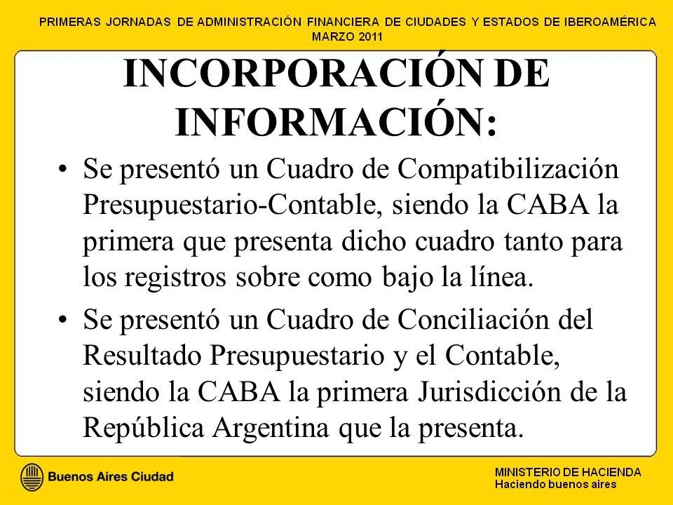 INCORPORACIÓN DE INFORMACIÓN: Se presentó un Cuadro de Compatibilización Presupuestario-Contable, siendo la CABA la primera que presenta dicho cuadro tanto para los registros sobre como bajo la línea.