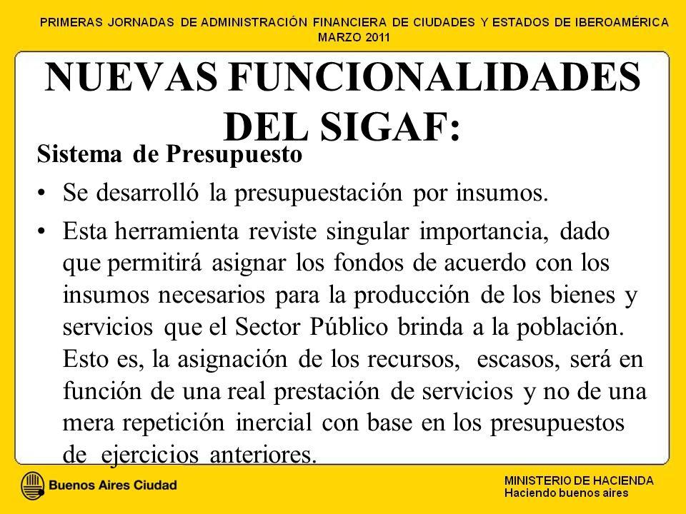 NUEVAS FUNCIONALIDADES DEL SIGAF: Sistema de Presupuesto Se desarrolló la presupuestación por insumos.