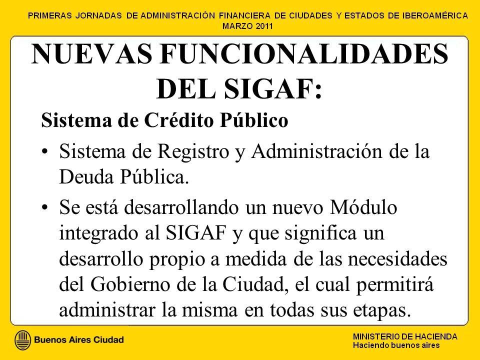 NUEVAS FUNCIONALIDADES DEL SIGAF: Sistema de Crédito Público Sistema de Registro y Administración de la Deuda Pública.