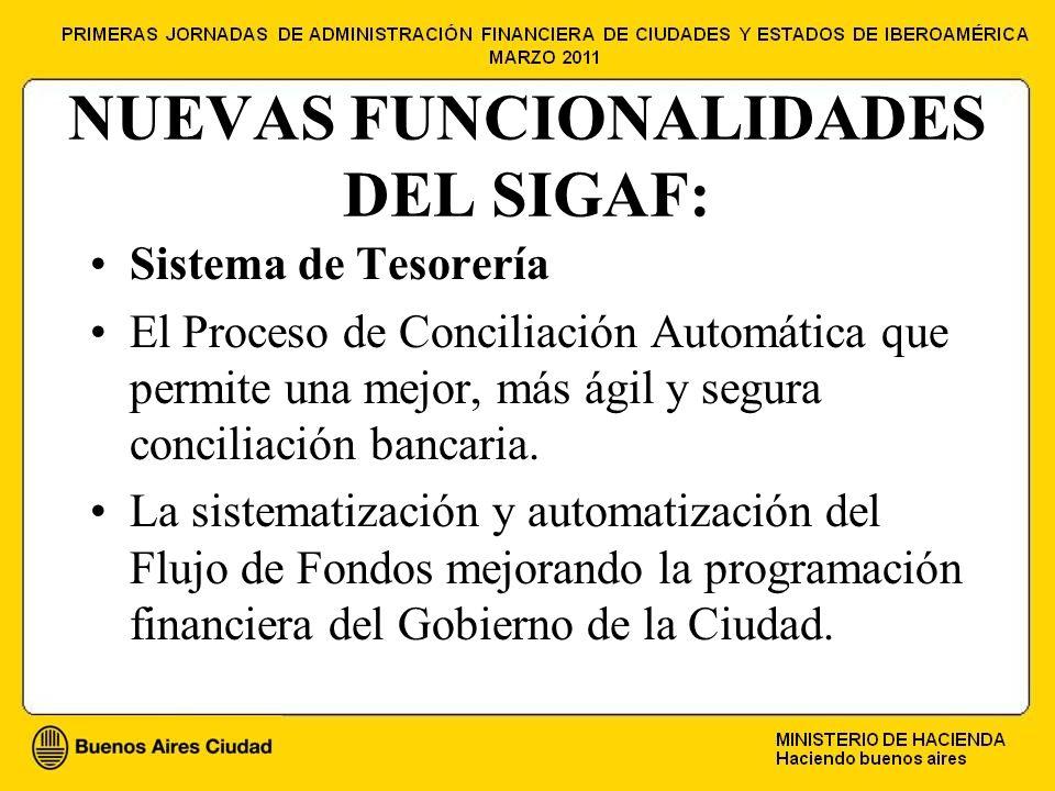 NUEVAS FUNCIONALIDADES DEL SIGAF: Sistema de Tesorería El Proceso de Conciliación Automática que permite una mejor, más ágil y segura conciliación bancaria.
