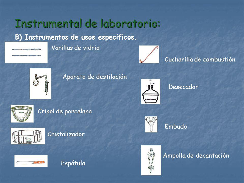 Instrumental de laboratorio: B) Instrumentos de usos especificos. Cristalizador Aparato de destilación Varillas de vidrio Crisol de porcelana Desecado