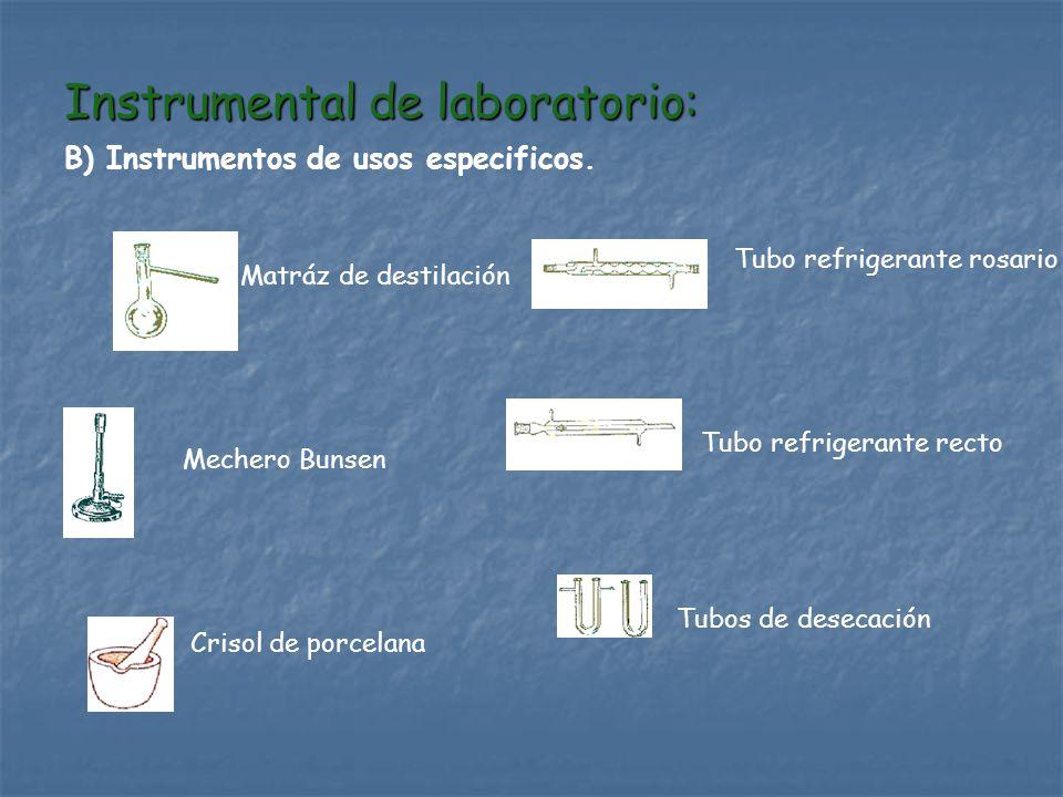 Instrumental de laboratorio: B) Instrumentos de usos especificos. Mechero Bunsen Matráz de destilación Crisol de porcelana Tubo refrigerante rosario T