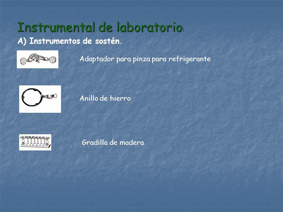 Instrumental de laboratorio : A) Instrumentos de sostén. Adaptador para pinza para refrigerante Anillo de hierro Gradilla de madera