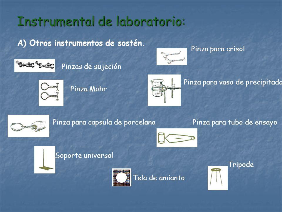 Instrumental de laboratorio: A) Otros instrumentos de sostén. Soporte universal Pinza Mohr Pinzas de sujeción Pinza para capsula de porcelana Pinza pa