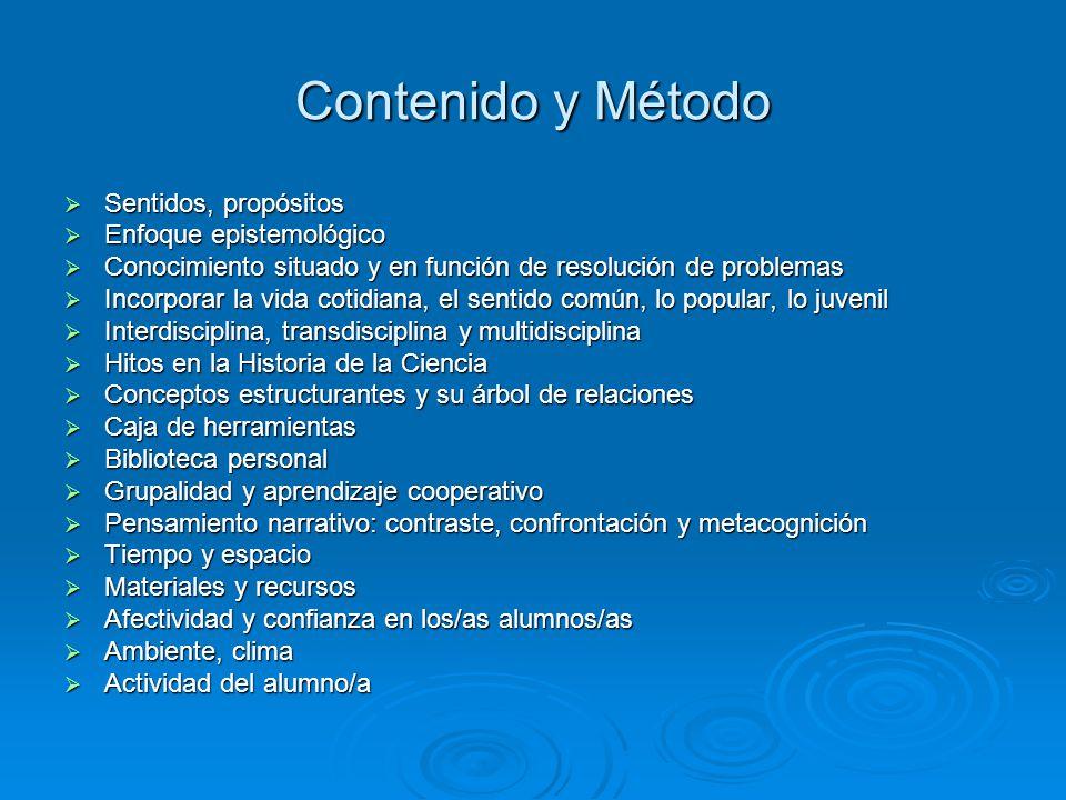 Contenido y Método Sentidos, propósitos Enfoque epistemológico Conocimiento situado y en función de resolución de problemas Incorporar la vida cotidia