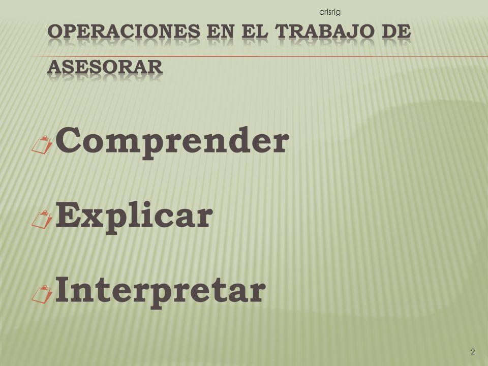 Comprender Explicar Interpretar crisrig 2