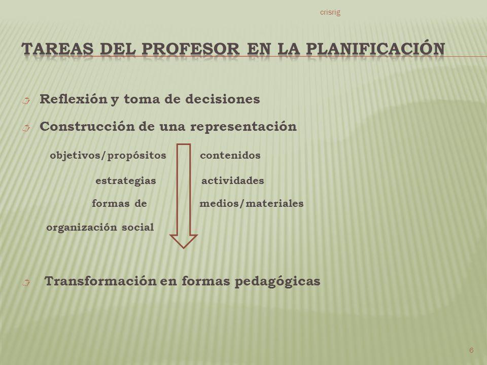 Reflexión y toma de decisiones Construcción de una representación objetivos/propósitos contenidos estrategias actividades formas de medios/materiales organización social Transformación en formas pedagógicas crisrig 6