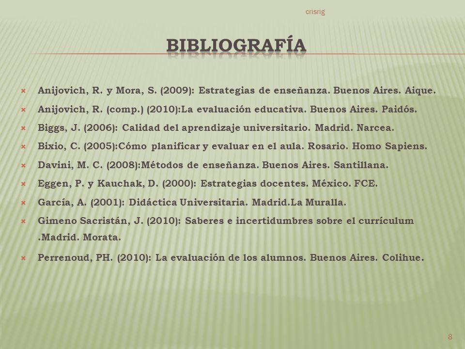 Anijovich, R.y Mora, S. (2009): Estrategias de enseñanza.
