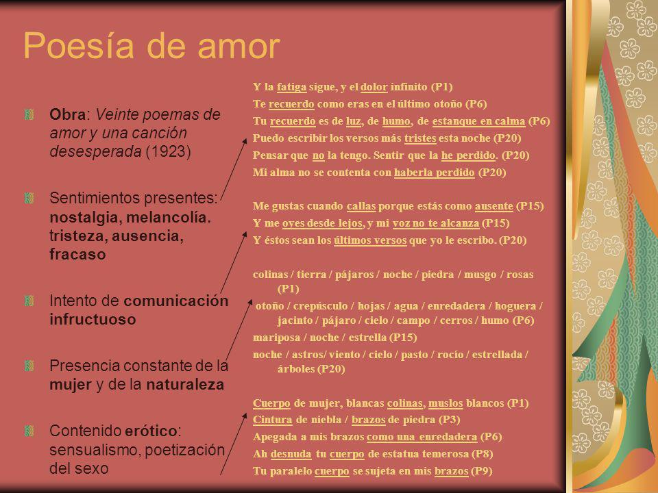 Poesía de amor Obra: Veinte poemas de amor y una canción desesperada (1923) Sentimientos presentes: nostalgia, melancolía. tristeza, ausencia, fracaso