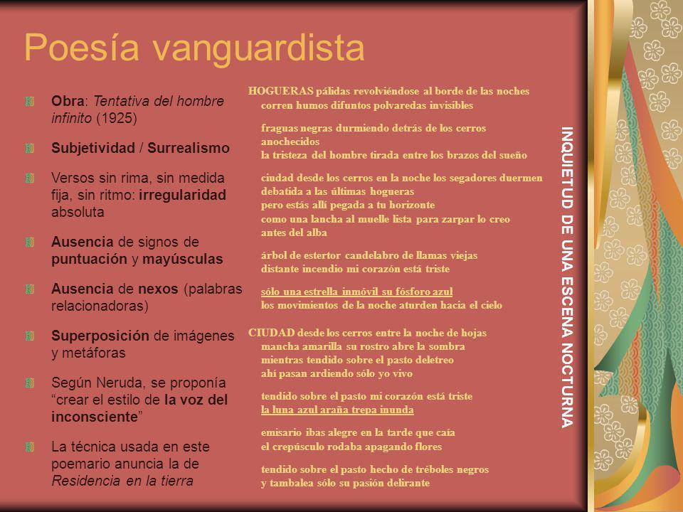 Poesía vanguardista Obra: Tentativa del hombre infinito (1925) Subjetividad / Surrealismo Versos sin rima, sin medida fija, sin ritmo: irregularidad a