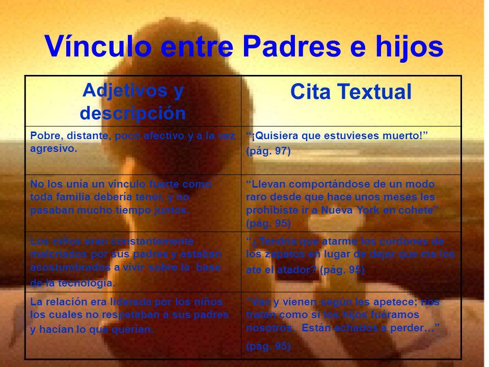 Vínculo entre Padres e hijos Adjetivos y descripción Cita Textual Pobre, distante, poco afectivo y a la vez agresivo.