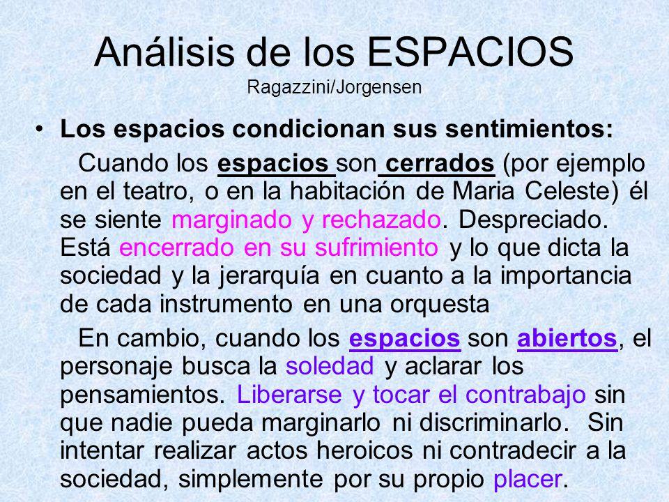 Análisis de los ESPACIOS Ragazzini/Jorgensen Los espacios condicionan sus sentimientos: Cuando los espacios son cerrados (por ejemplo en el teatro, o
