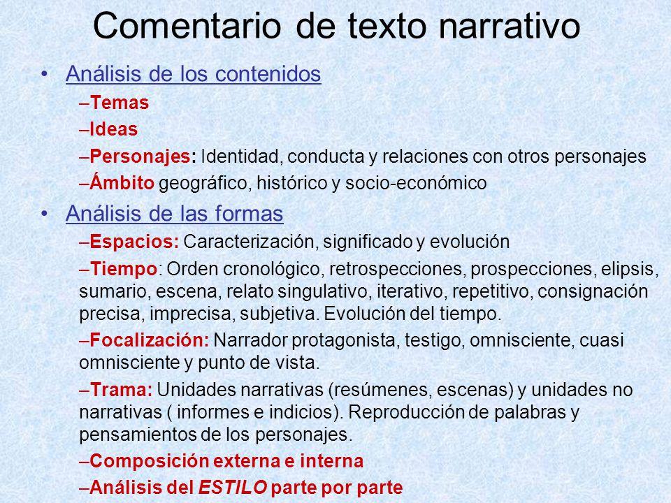 Comentario de texto narrativo Análisis de los contenidos –Temas –Ideas –Personajes: Identidad, conducta y relaciones con otros personajes –Ámbito geog