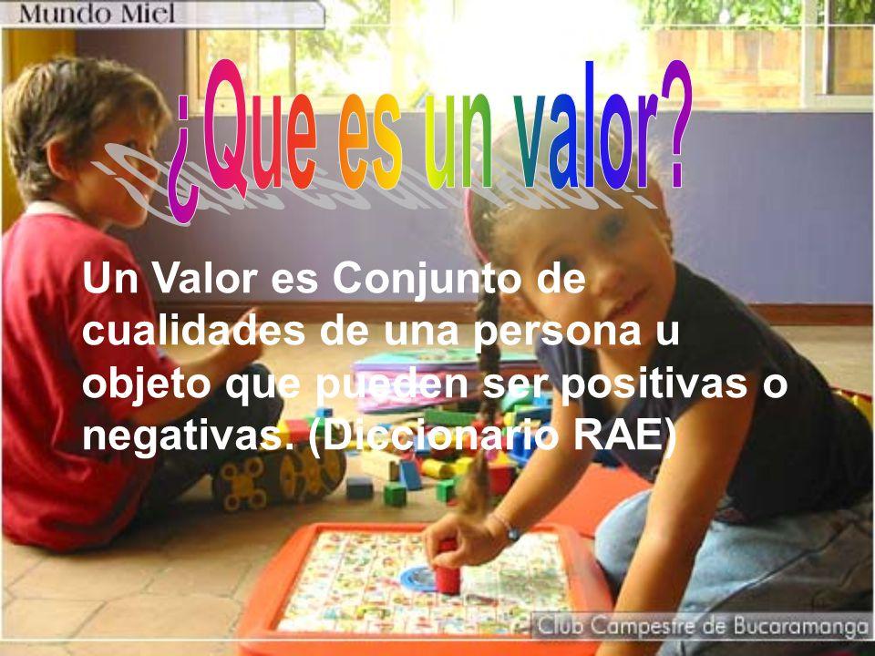 Un Valor es Conjunto de cualidades de una persona u objeto que pueden ser positivas o negativas.