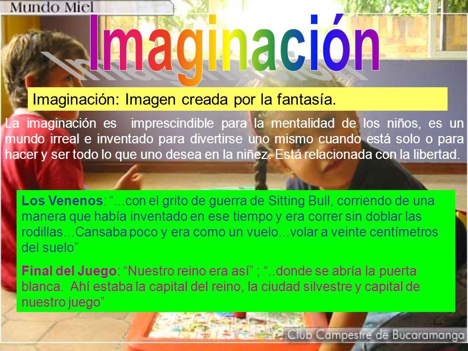 La imaginación es imprescindible para la mentalidad de los niños, es un mundo irreal e inventado para divertirse uno mismo cuando está solo o para hacer y ser todo lo que uno desea en la niñez.