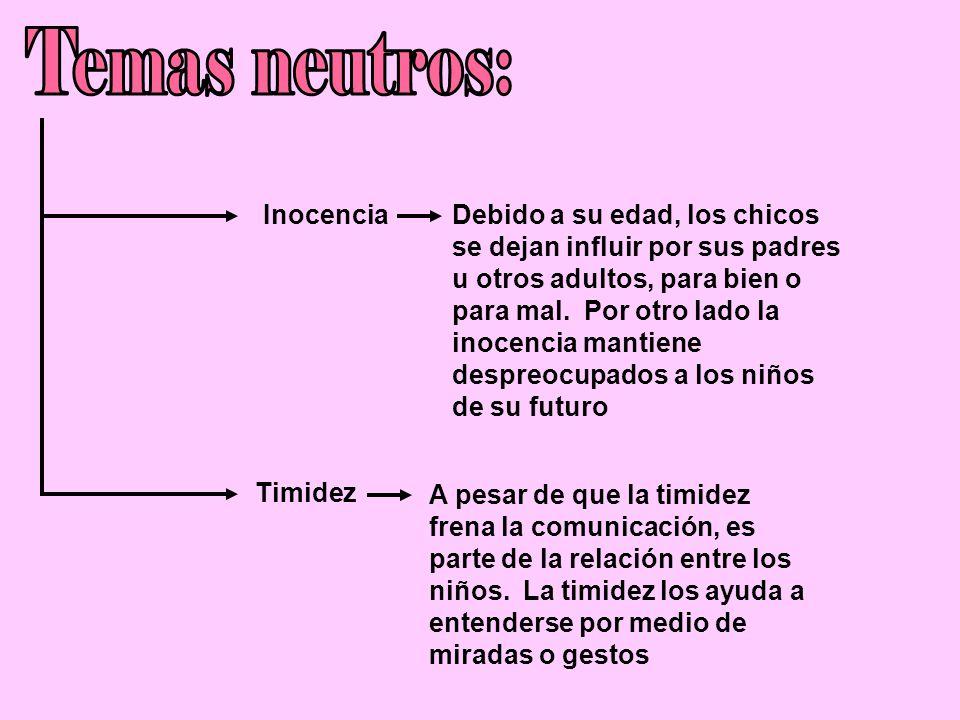 Inocencia Timidez Debido a su edad, los chicos se dejan influir por sus padres u otros adultos, para bien o para mal.