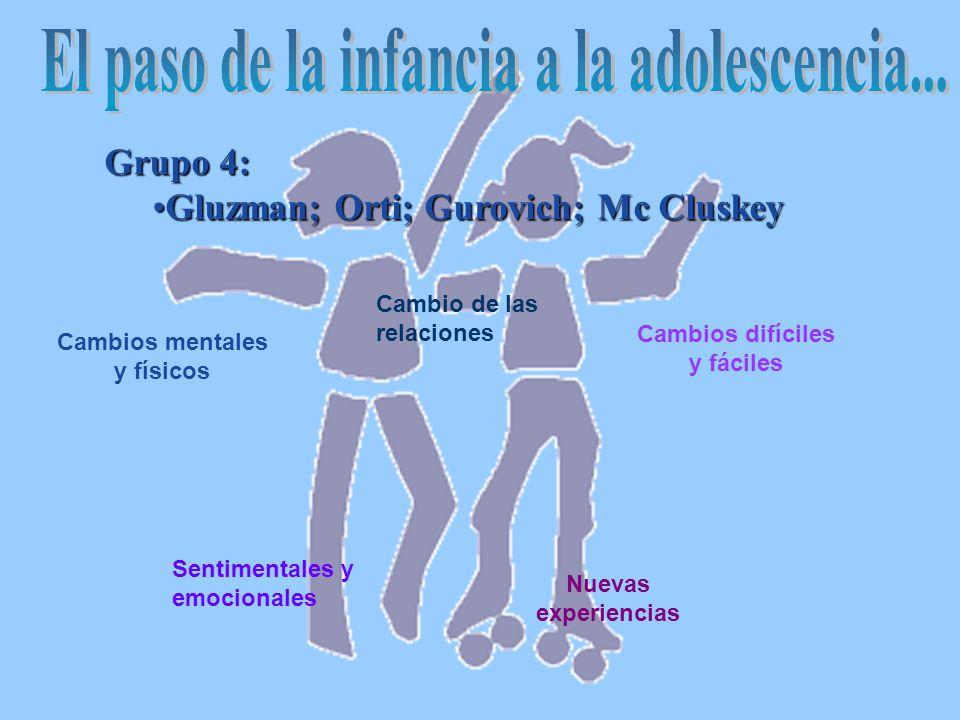 Grupo 4: Gluzman; Orti; Gurovich; Mc CluskeyGluzman; Orti; Gurovich; Mc Cluskey Cambios mentales y físicos Sentimentales y emocionales Cambio de las relaciones Cambios difíciles y fáciles Nuevas experiencias