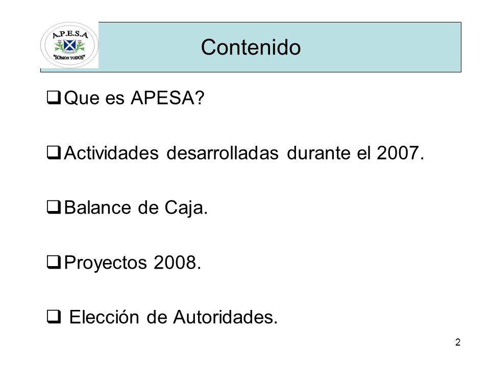 2 Que es APESA. Actividades desarrolladas durante el 2007.