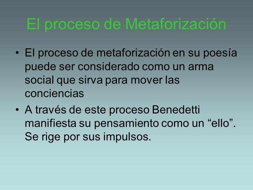 El proceso de Metaforización El proceso de metaforización en su poesía puede ser considerado como un arma social que sirva para mover las conciencias