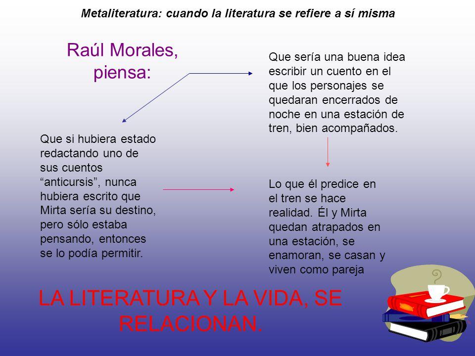 Metaliteratura: cuando la literatura se refiere a sí misma Raúl Morales, piensa: Que sería una buena idea escribir un cuento en el que los personajes