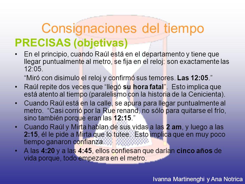 Consignaciones del tiempo PRECISAS (objetivas) En el principio, cuando Raúl está en el departamento y tiene que llegar puntualmente al metro, se fija