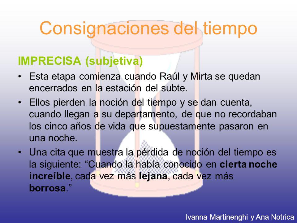 Consignaciones del tiempo IMPRECISA (subjetiva) Esta etapa comienza cuando Raúl y Mirta se quedan encerrados en la estación del subte. Ellos pierden l