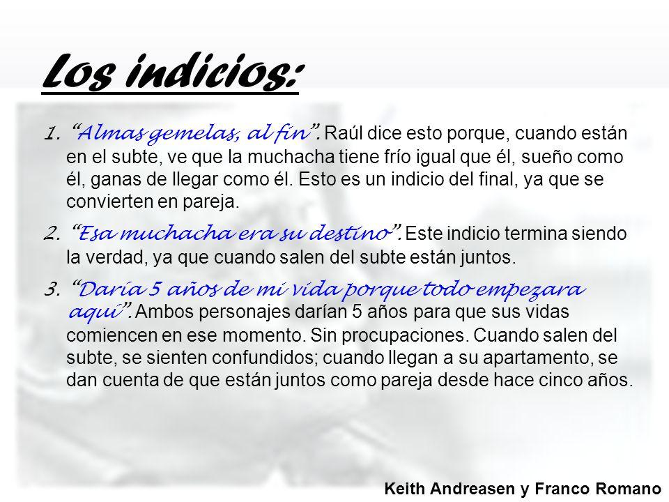 Los indicios: 1.Almas gemelas, al fin. Raúl dice esto porque, cuando están en el subte, ve que la muchacha tiene frío igual que él, sueño como él, gan