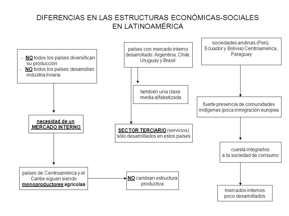 DIFERENCIAS EN LAS ESTRUCTURAS ECONÓMICAS-SOCIALES EN LATINOAMÉRICA - NO todos los países diversifican su producción - NO todos los países desarrollan