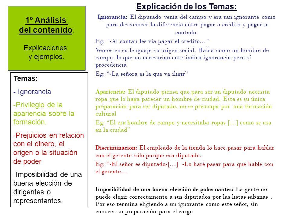 1º Análisis del contenido : Explicaciones y ejemplos.