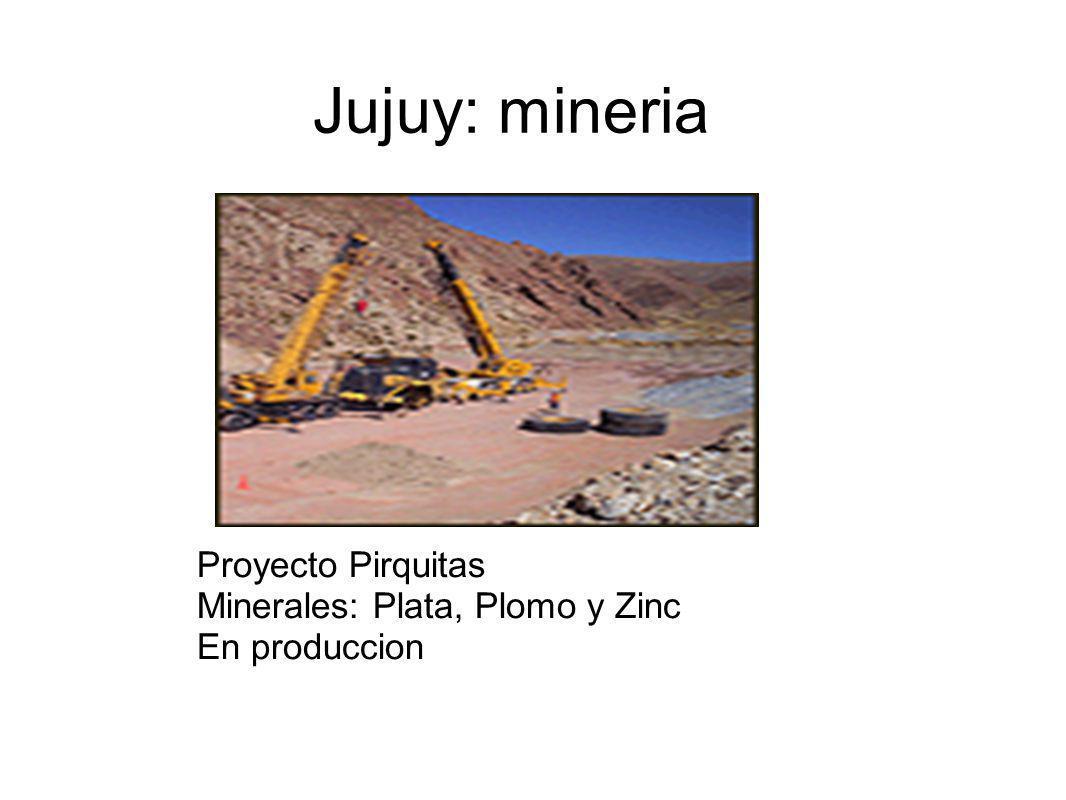 Jujuy: mineria Proyecto Pirquitas Minerales: Plata, Plomo y Zinc En produccion