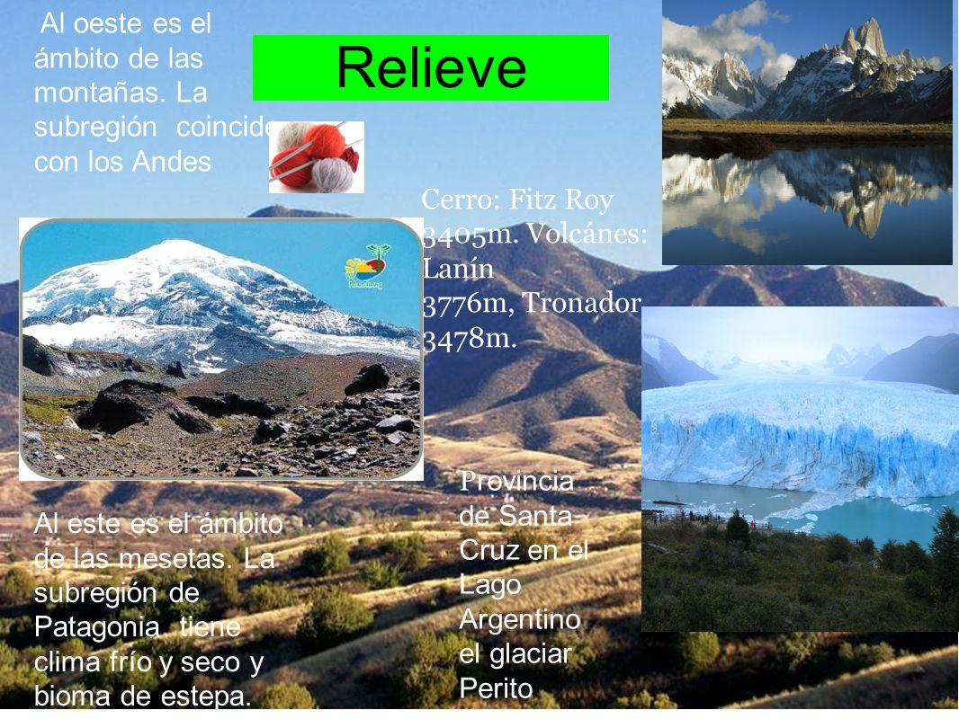 Relieve Al oeste es el ámbito de las montañas. La subregión coincide con los Andes Cerro: Fitz Roy 3405m. Volcánes: Lanín 3776m, Tronador 3478m. P rov