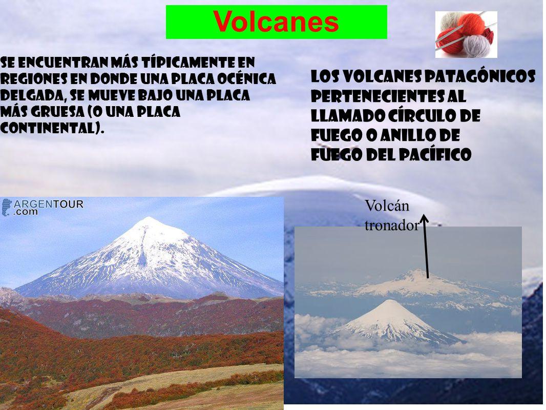 Volcanes Se encuentran más típicamente en regiones en donde una placa océnica delgada, se mueve bajo una placa más gruesa (o una placa continental). V