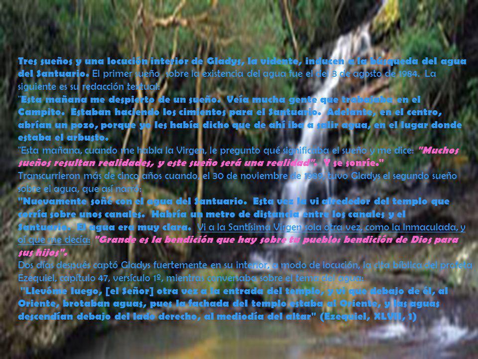 Tres sueños y una locución interior de Gladys, la vidente, inducen a la búsqueda del agua del Santuario. El primer sueño sobre la existencia del agua