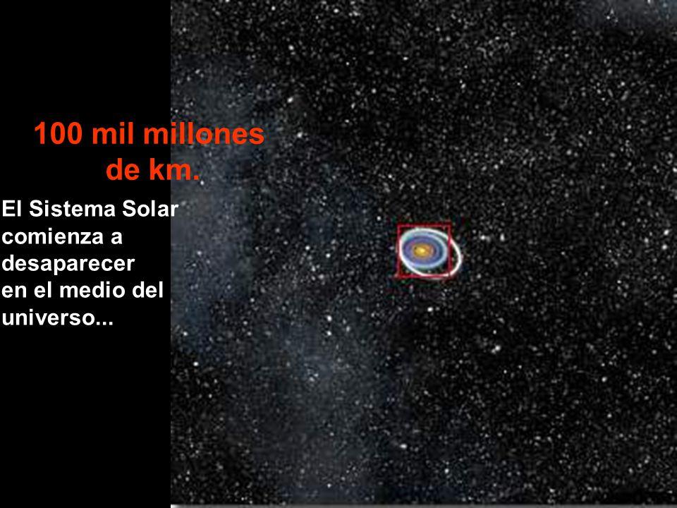 100 mil millones de km. El Sistema Solar comienza a desaparecer en el medio del universo...