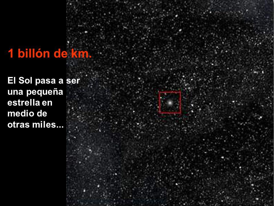 El Sol pasa a ser una pequeña estrella en medio de otras miles... 1 billón de km.