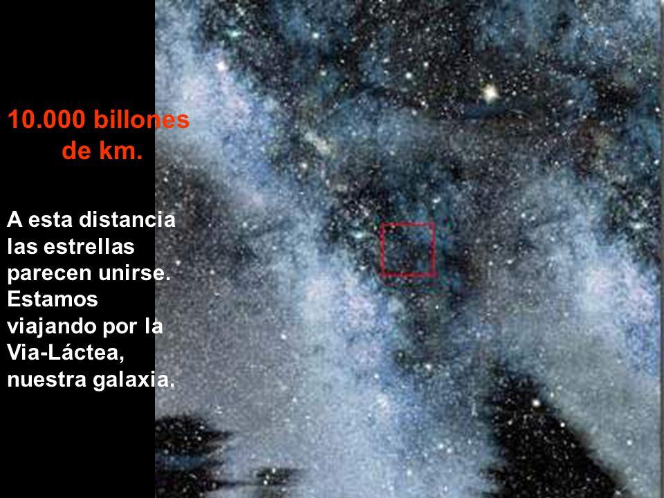 10.000 billones de km. A esta distancia las estrellas parecen unirse.