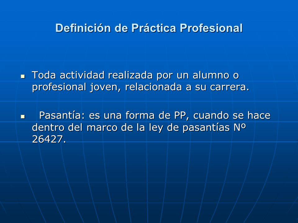 Definición de Práctica Profesional Toda actividad realizada por un alumno o profesional joven, relacionada a su carrera. Toda actividad realizada por
