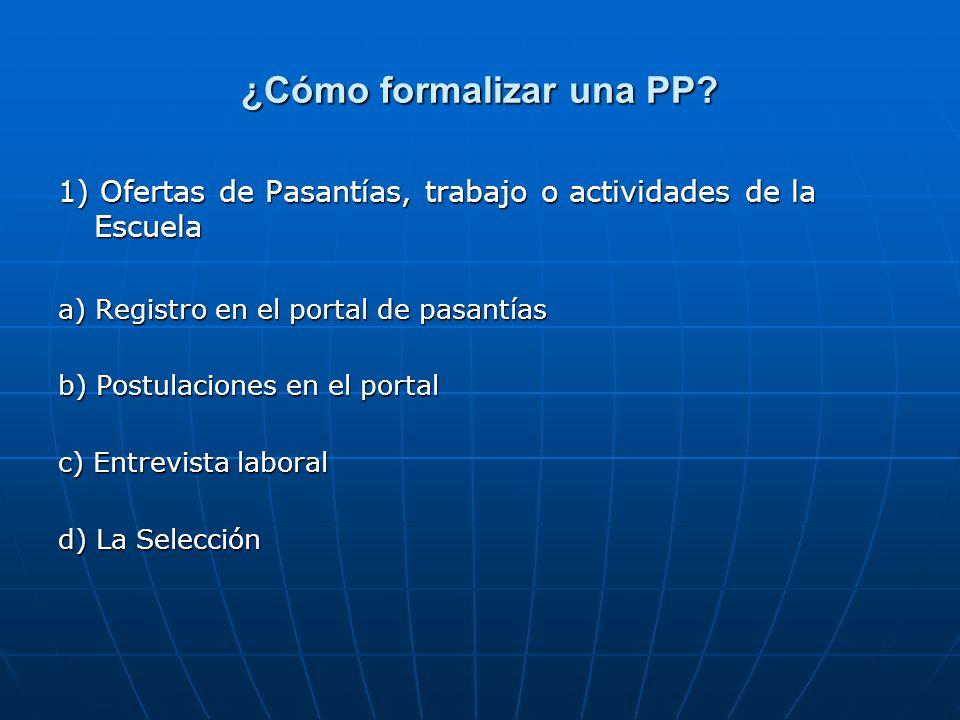 ¿Cómo formalizar una PP? 1) Ofertas de Pasantías, trabajo o actividades de la Escuela a) Registro en el portal de pasantías b) Postulaciones en el por