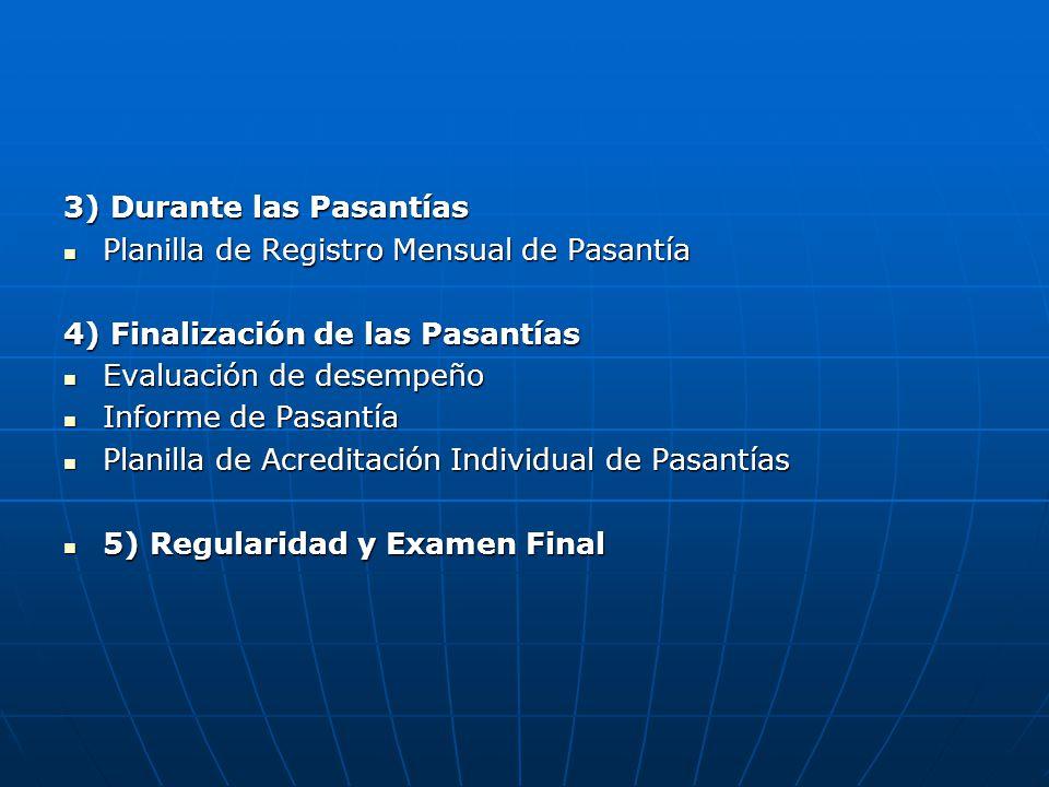 3) Durante las Pasantías Planilla de Registro Mensual de Pasantía Planilla de Registro Mensual de Pasantía 4) Finalización de las Pasantías Evaluación