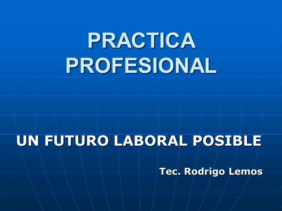 PRACTICA PROFESIONAL UN FUTURO LABORAL POSIBLE Tec. Rodrigo Lemos